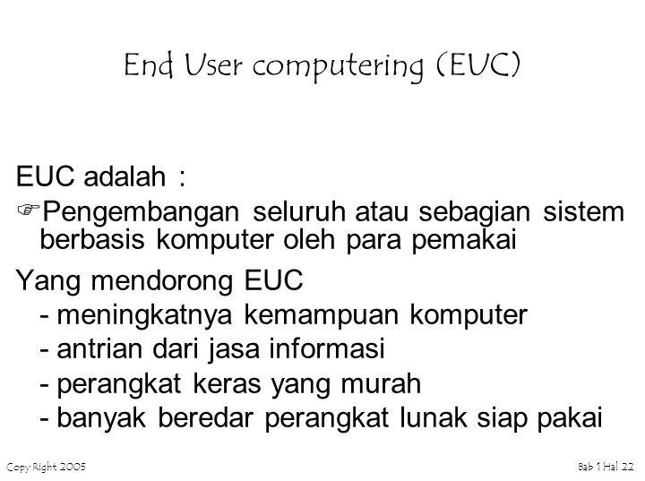 End User computering (EUC)