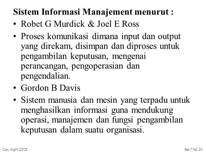 Sistem Informasi Manajement menurut :