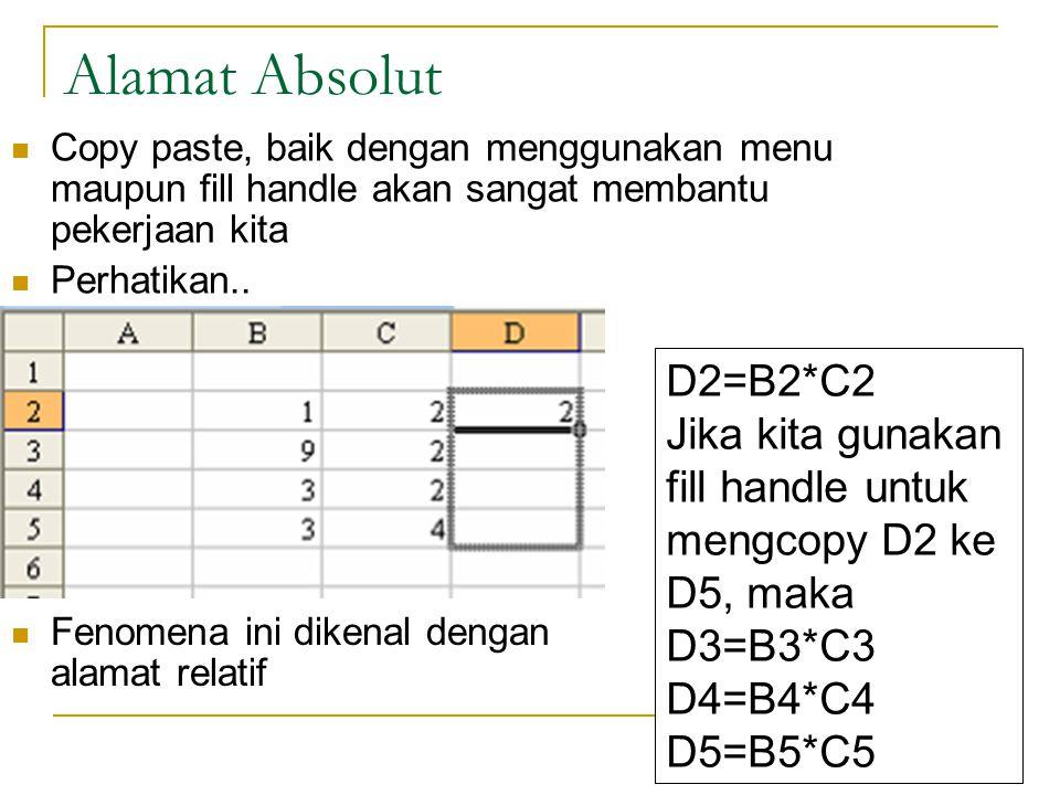 Alamat Absolut Copy paste, baik dengan menggunakan menu maupun fill handle akan sangat membantu pekerjaan kita.