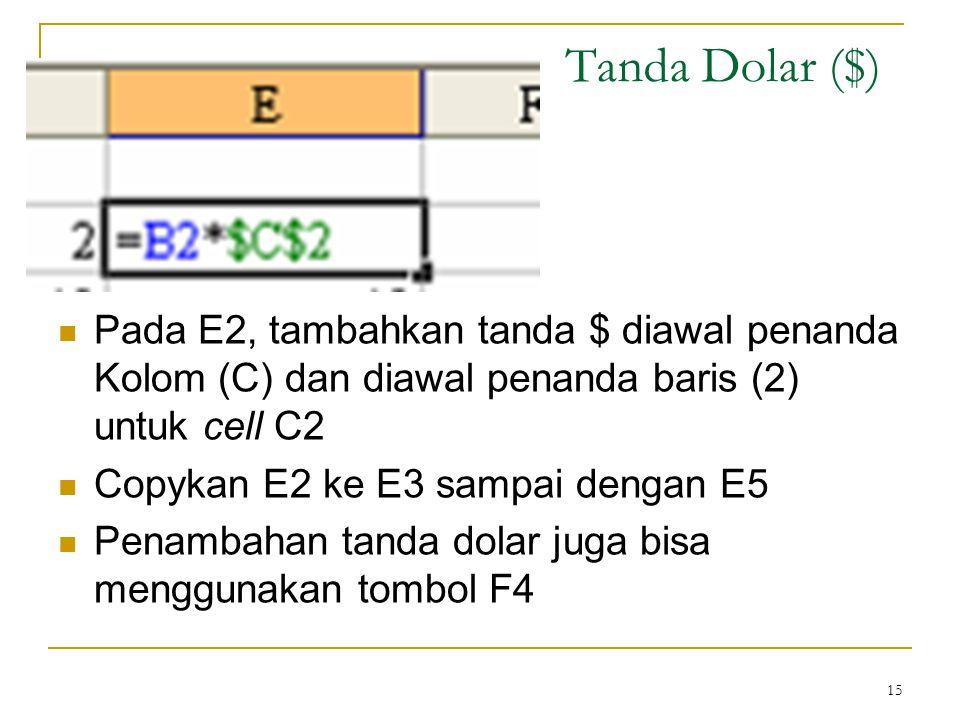 Tanda Dolar ($) Pada E2, tambahkan tanda $ diawal penanda Kolom (C) dan diawal penanda baris (2) untuk cell C2.