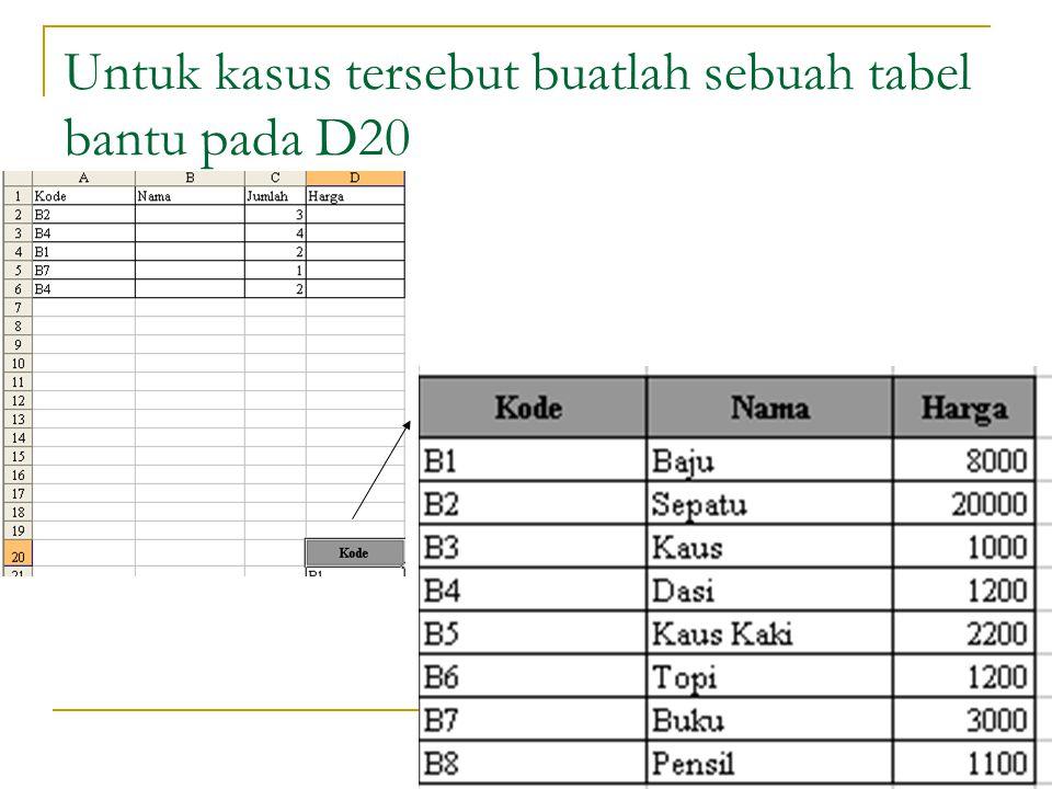 Untuk kasus tersebut buatlah sebuah tabel bantu pada D20
