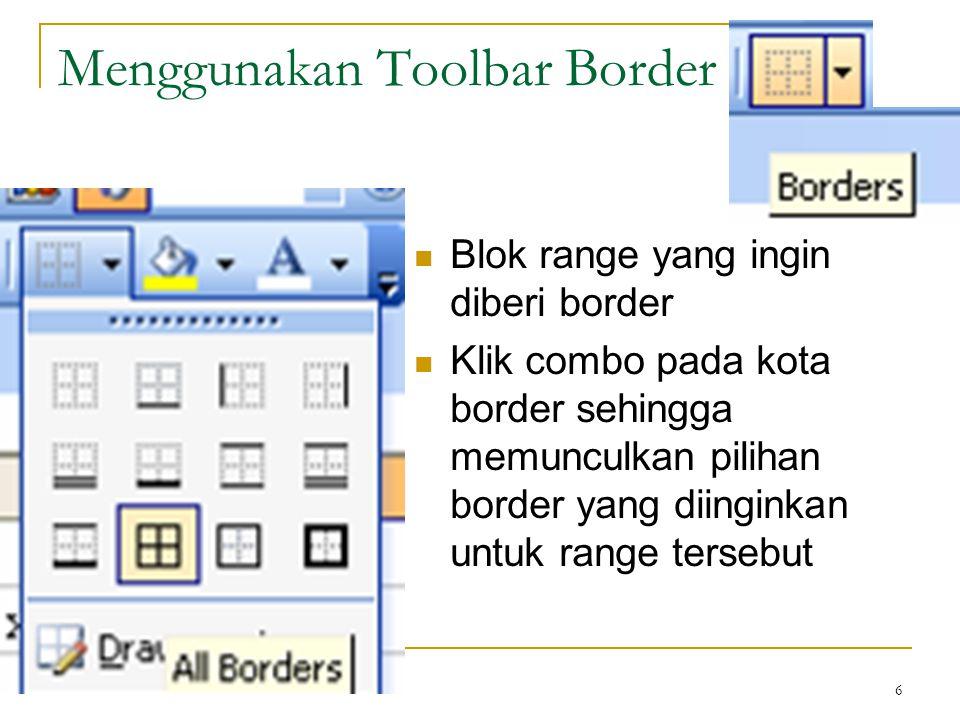 Menggunakan Toolbar Border