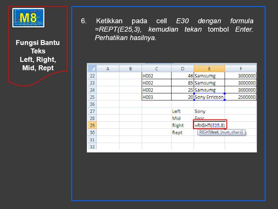 m8 6. Ketikkan pada cell E30 dengan formula =REPT(E25,3), kemudian tekan tombol Enter. Perhatikan hasilnya.