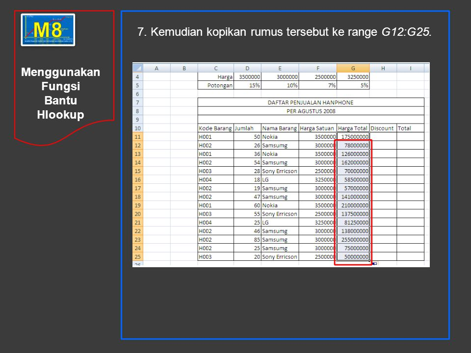 m8 7. Kemudian kopikan rumus tersebut ke range G12:G25.