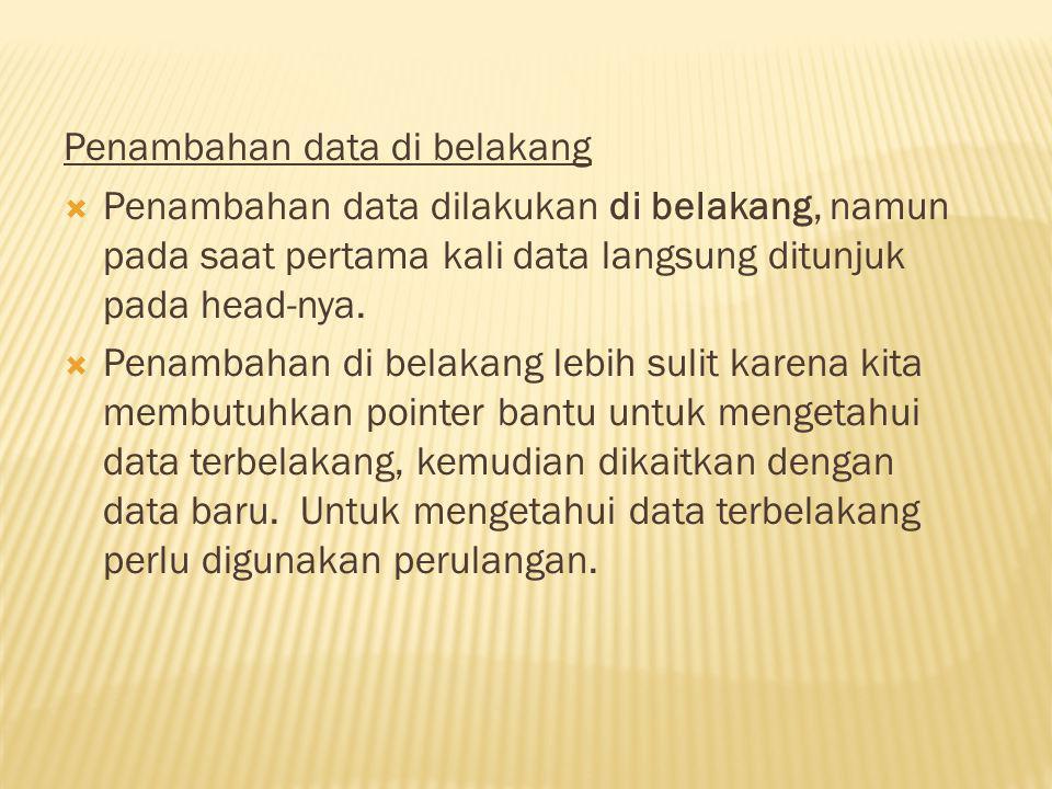Penambahan data di belakang