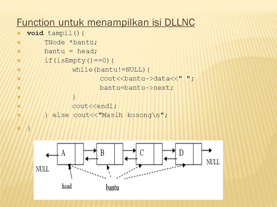 Function untuk menampilkan isi DLLNC