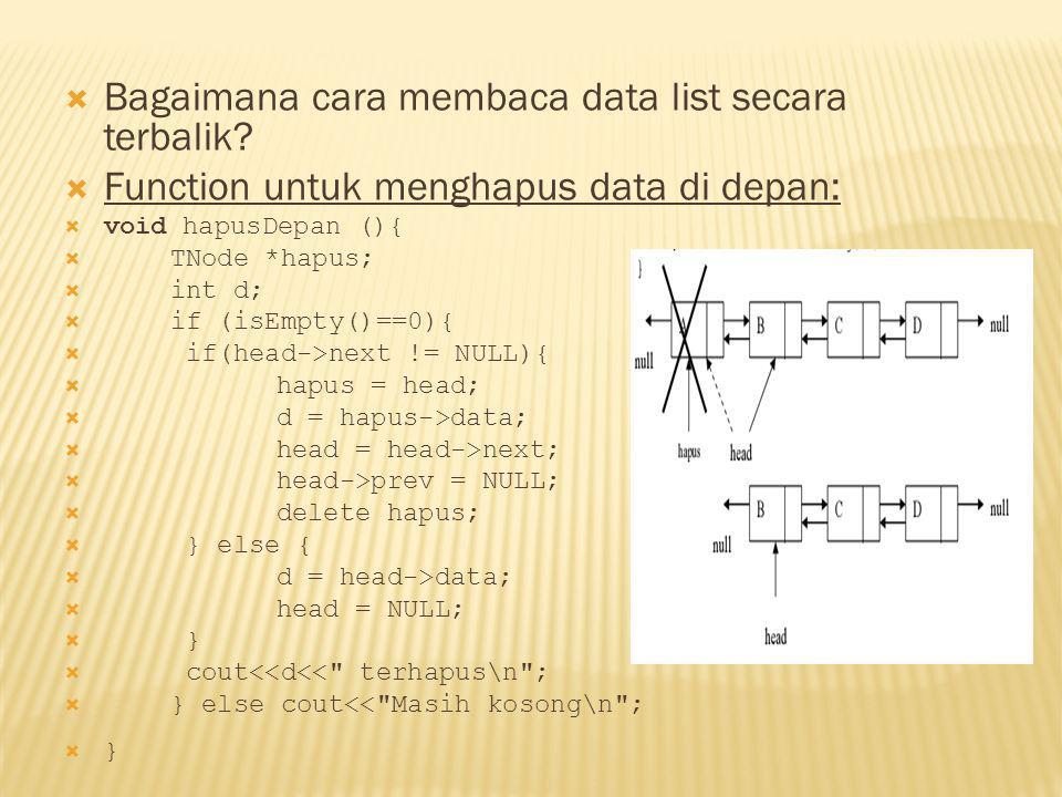 Bagaimana cara membaca data list secara terbalik
