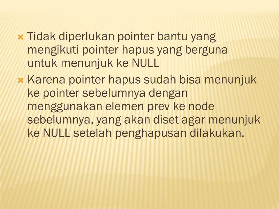 Tidak diperlukan pointer bantu yang mengikuti pointer hapus yang berguna untuk menunjuk ke NULL