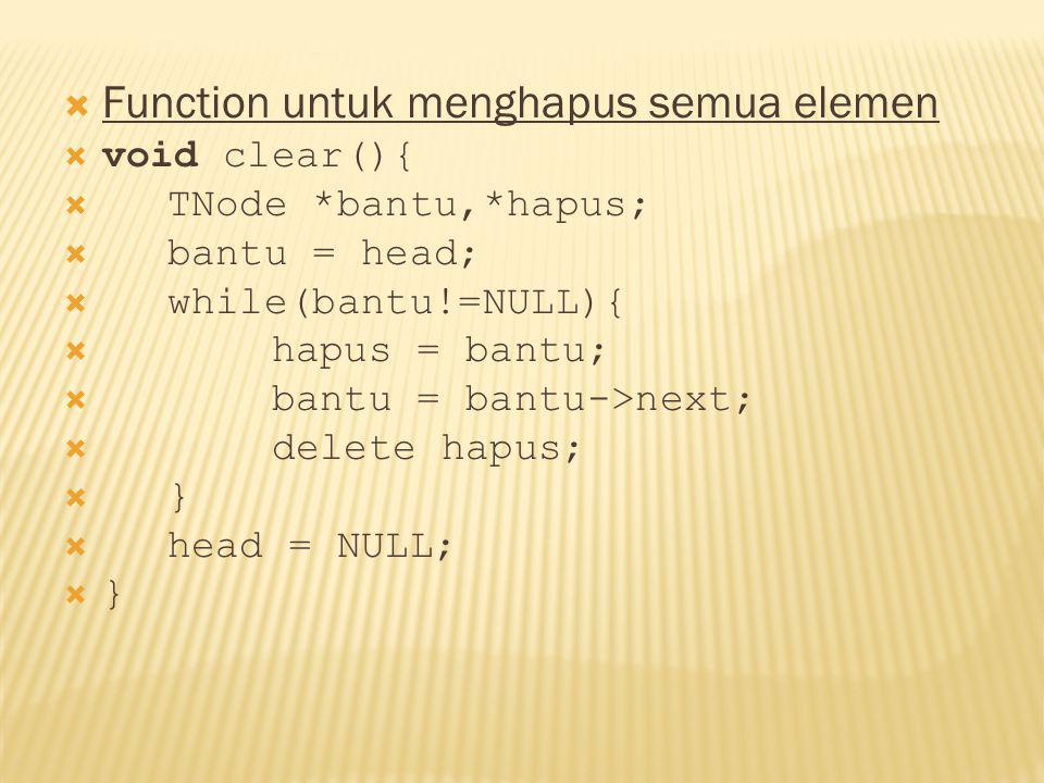 Function untuk menghapus semua elemen