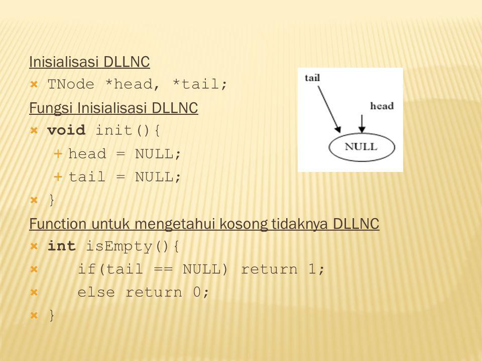 Inisialisasi DLLNC TNode *head, *tail; Fungsi Inisialisasi DLLNC. void init(){ head = NULL; tail = NULL;