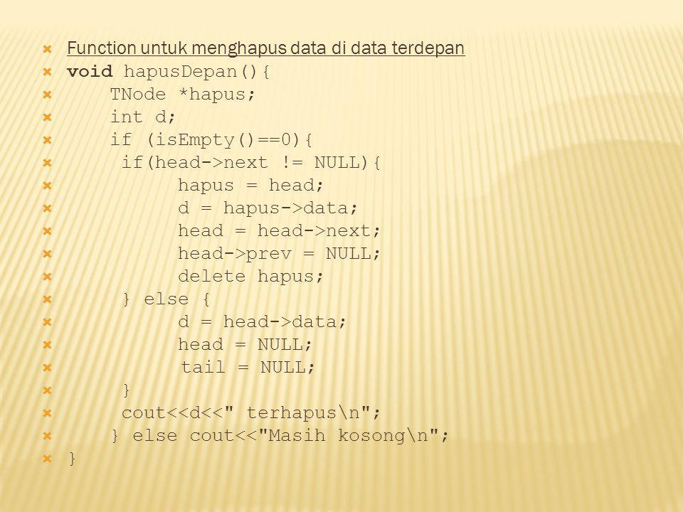 Function untuk menghapus data di data terdepan