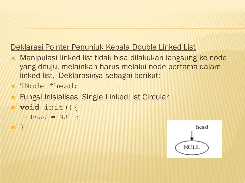 Deklarasi Pointer Penunjuk Kepala Double Linked List