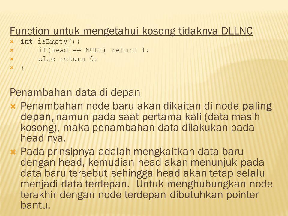 Function untuk mengetahui kosong tidaknya DLLNC