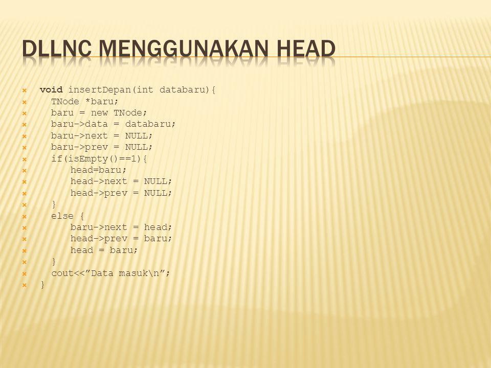 DLLNC menggunakan Head