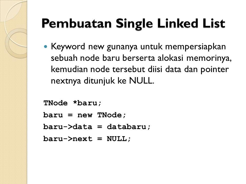 Pembuatan Single Linked List