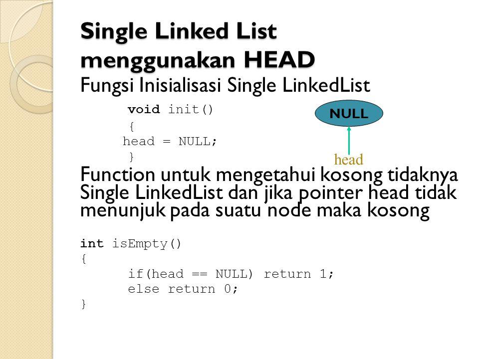 Single Linked List menggunakan HEAD