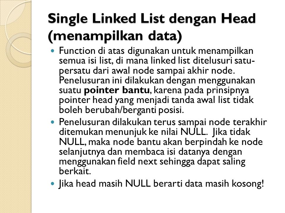 Single Linked List dengan Head (menampilkan data)