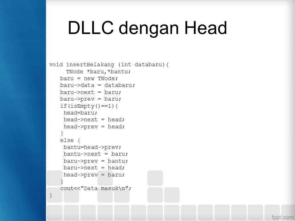 DLLC dengan Head void insertBelakang (int databaru){