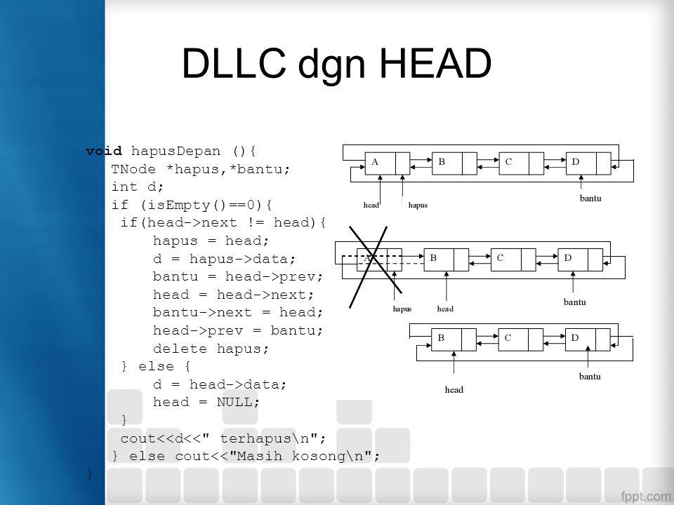 DLLC dgn HEAD void hapusDepan (){ TNode *hapus,*bantu; int d;
