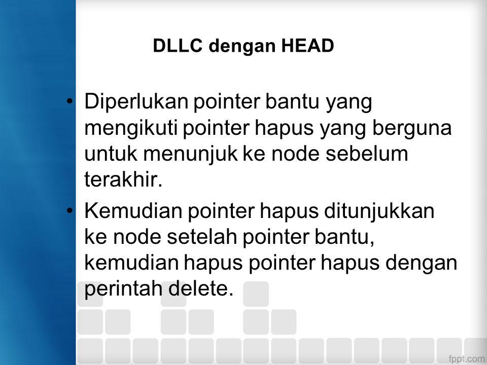 DLLC dengan HEAD Diperlukan pointer bantu yang mengikuti pointer hapus yang berguna untuk menunjuk ke node sebelum terakhir.
