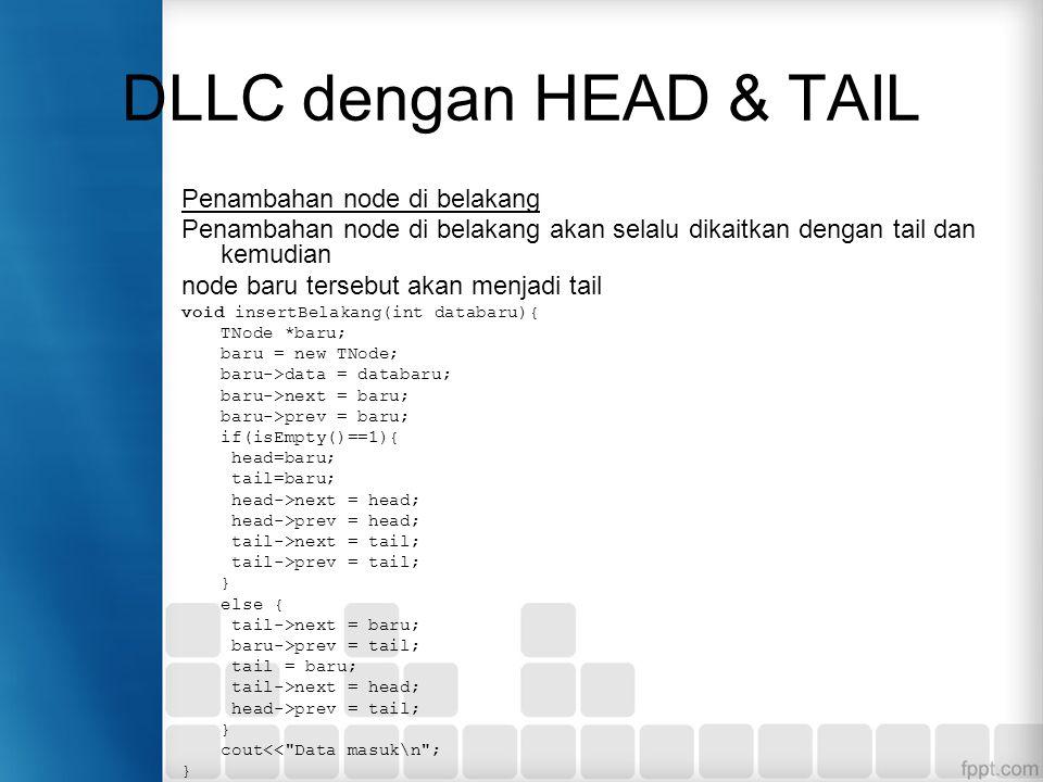 DLLC dengan HEAD & TAIL Penambahan node di belakang