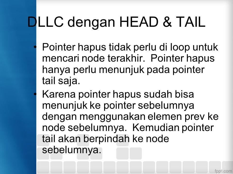 DLLC dengan HEAD & TAIL Pointer hapus tidak perlu di loop untuk mencari node terakhir. Pointer hapus hanya perlu menunjuk pada pointer tail saja.