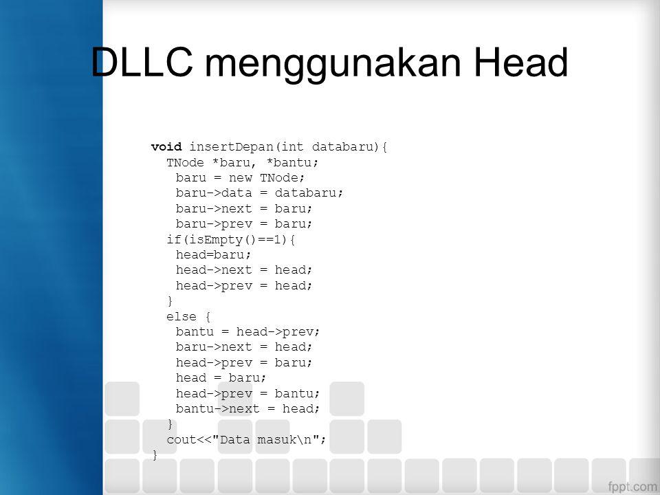 DLLC menggunakan Head void insertDepan(int databaru){