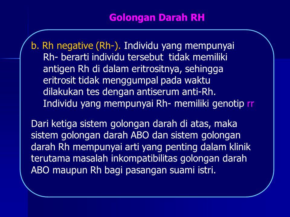 Golongan Darah RH b. Rh negative (Rh-). Individu yang mempunyai. Rh- berarti individu tersebut tidak memiliki.