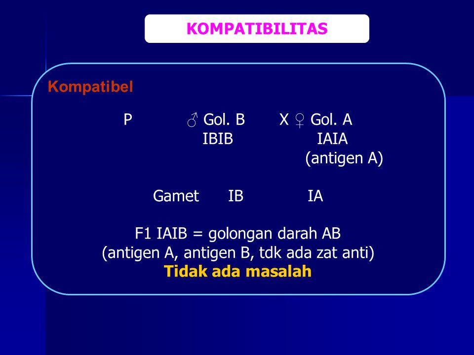 F1 IAIB = golongan darah AB (antigen A, antigen B, tdk ada zat anti)