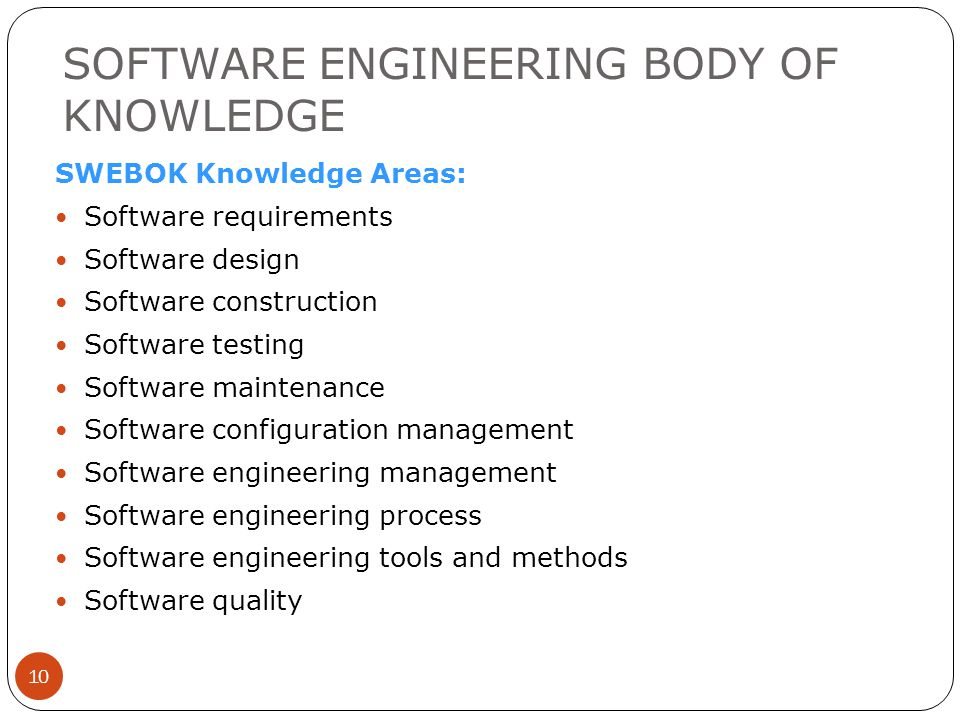 SOFTWARE ENGINEERING BODY OF KNOWLEDGE