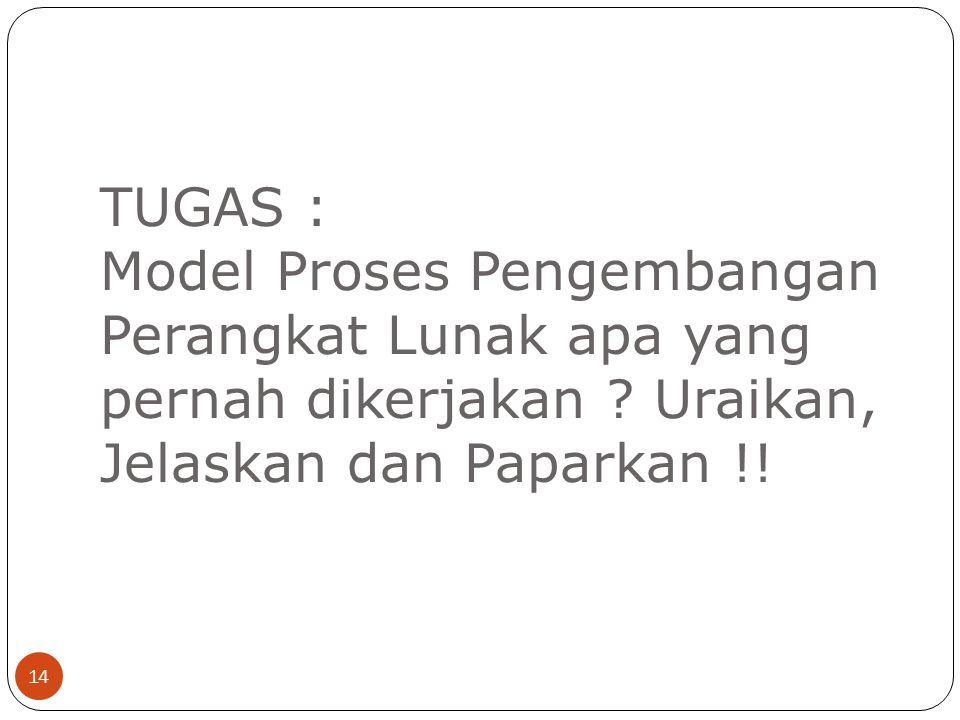 TUGAS : Model Proses Pengembangan Perangkat Lunak apa yang pernah dikerjakan .