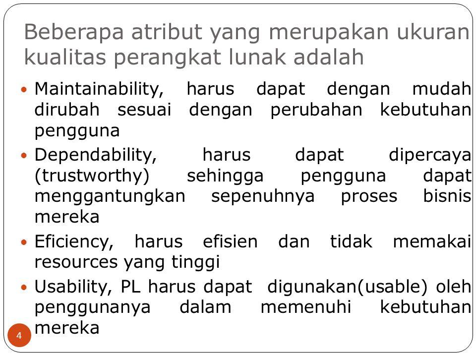 Beberapa atribut yang merupakan ukuran kualitas perangkat lunak adalah