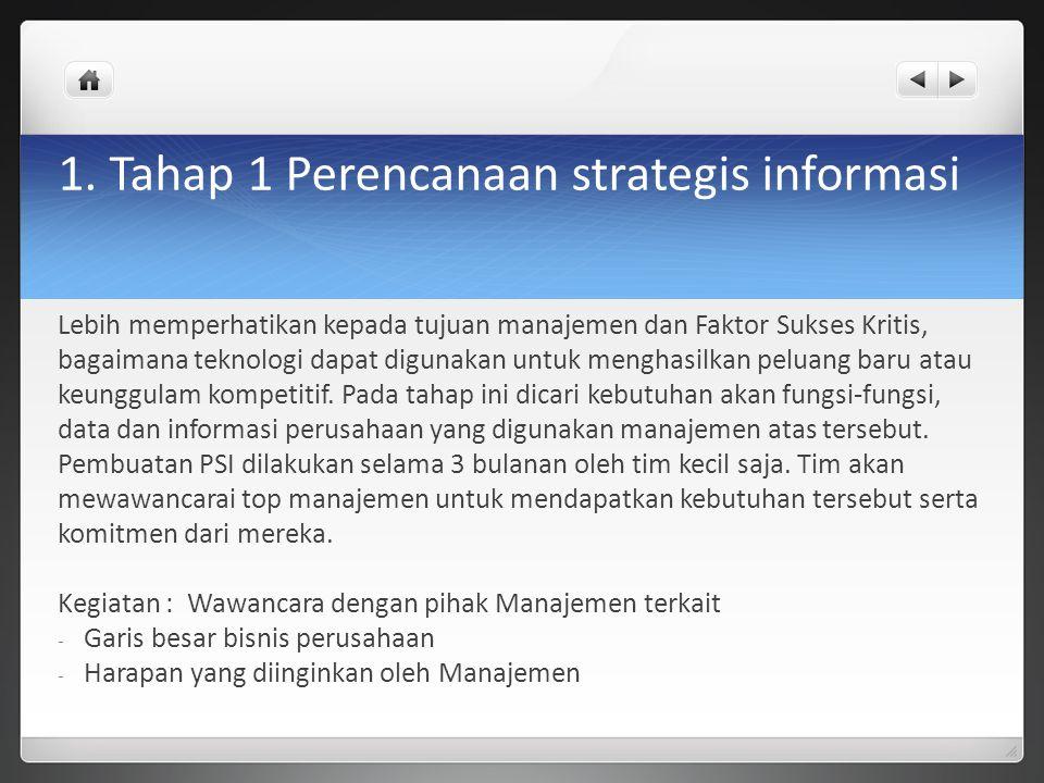 1. Tahap 1 Perencanaan strategis informasi