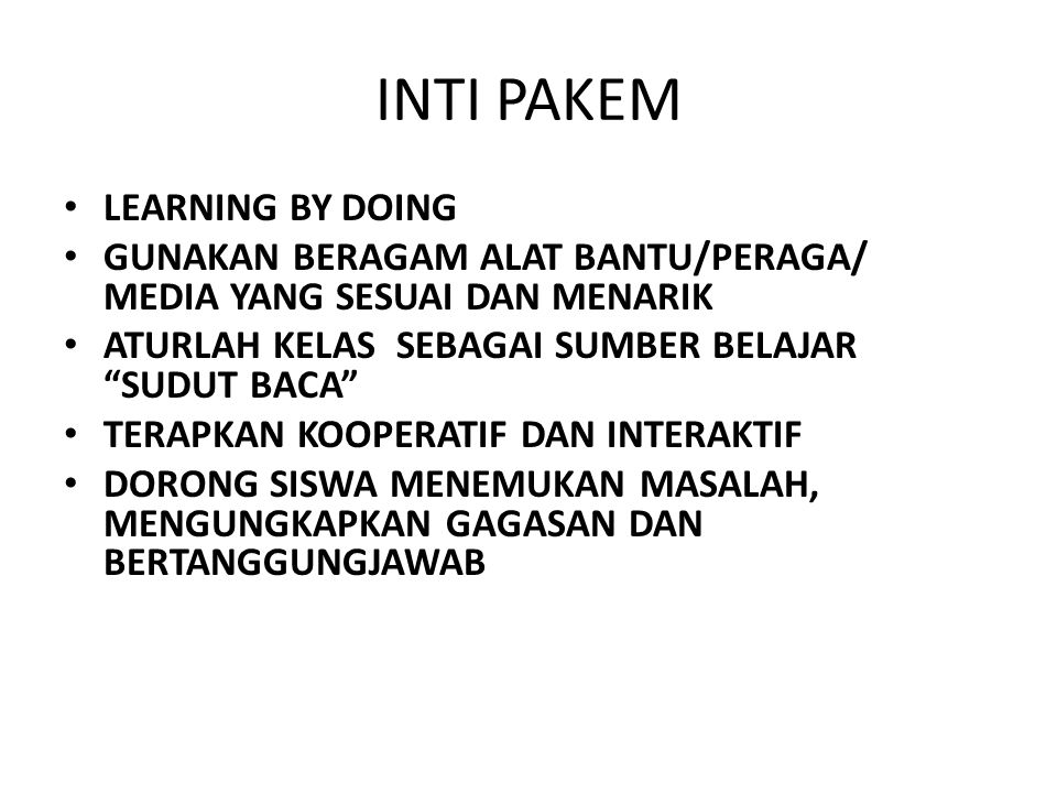 INTI PAKEM LEARNING BY DOING