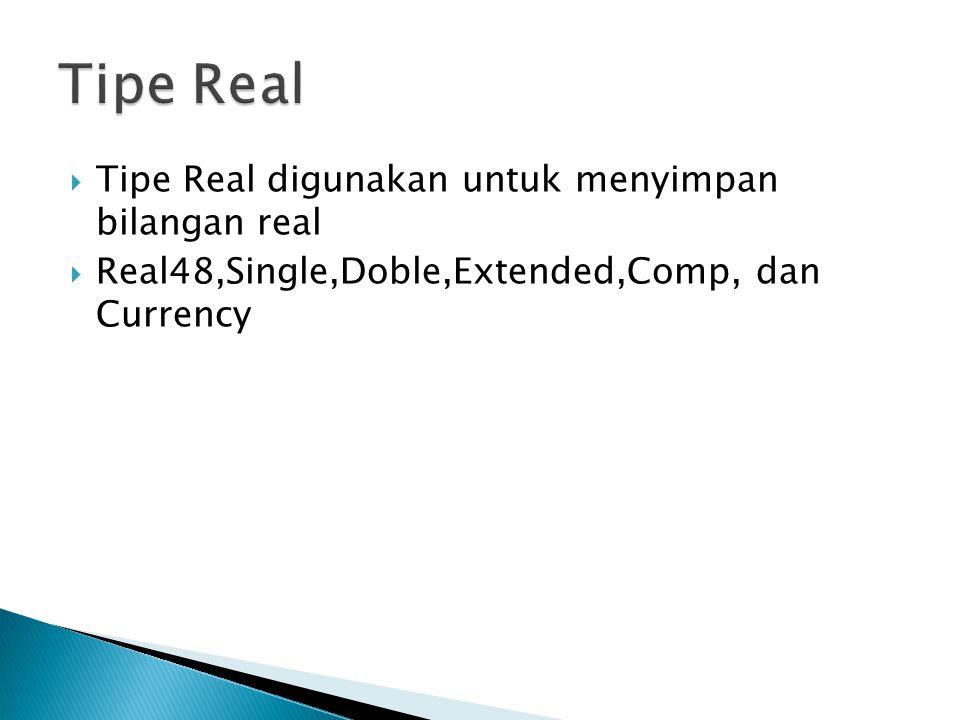 Tipe Real Tipe Real digunakan untuk menyimpan bilangan real