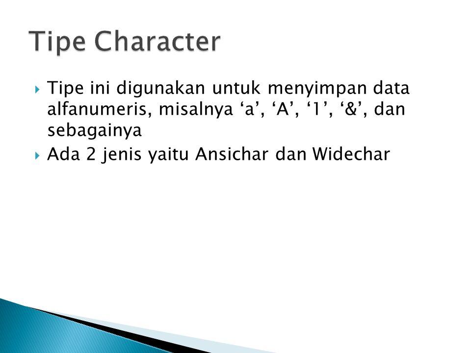 Tipe Character Tipe ini digunakan untuk menyimpan data alfanumeris, misalnya 'a', 'A', '1', '&', dan sebagainya.