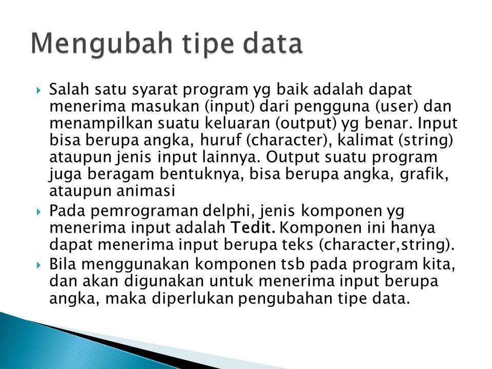 Mengubah tipe data