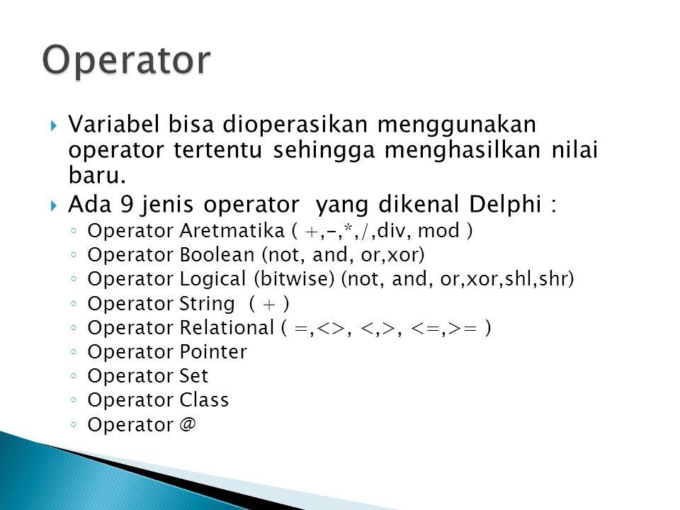 Operator Variabel bisa dioperasikan menggunakan operator tertentu sehingga menghasilkan nilai baru.
