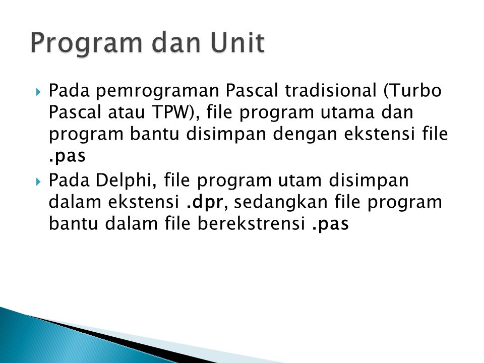 Program dan Unit