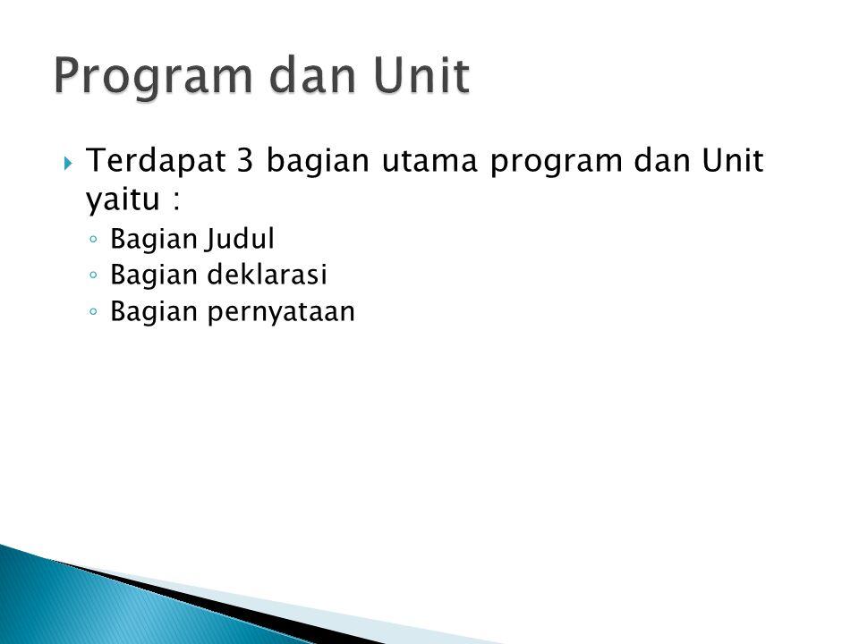 Program dan Unit Terdapat 3 bagian utama program dan Unit yaitu :