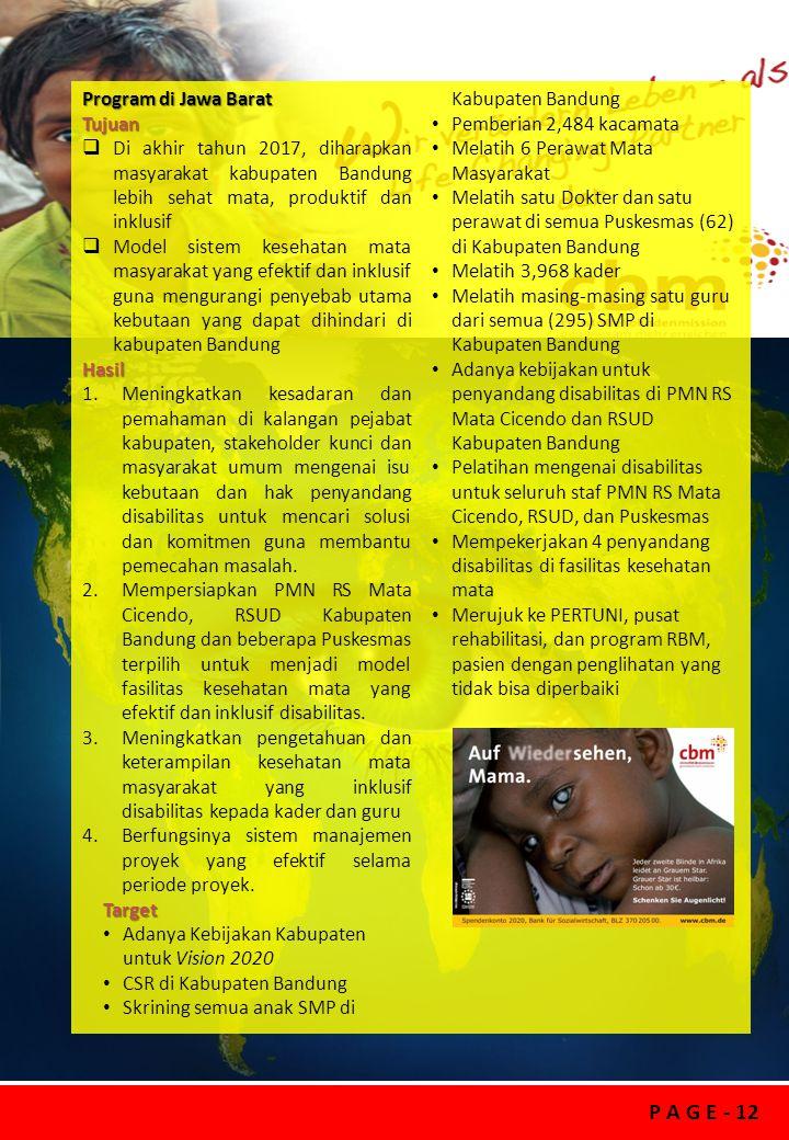 Program di Jawa Barat Skrining semua anak SMP di Kabupaten Bandung. Tujuan. Pemberian 2,484 kacamata.