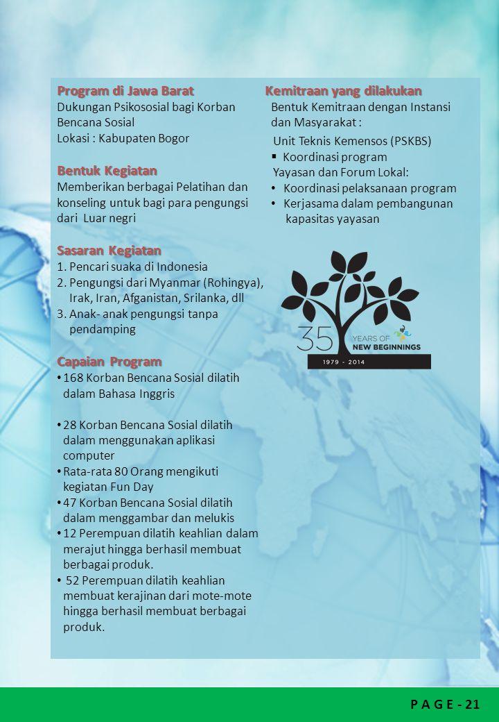 Program di Jawa Barat Kemitraan yang dilakukan Bentuk Kemitraan dengan Instansi dan Masyarakat : Dukungan Psikososial bagi Korban Bencana Sosial.