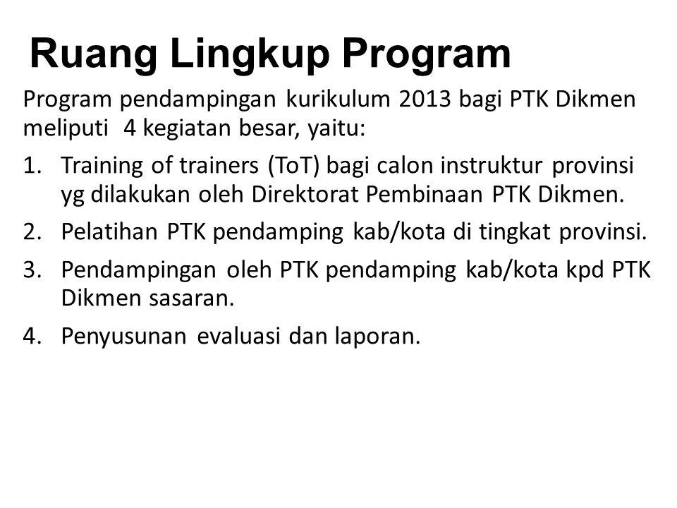 Ruang Lingkup Program Program pendampingan kurikulum 2013 bagi PTK Dikmen meliputi 4 kegiatan besar, yaitu: