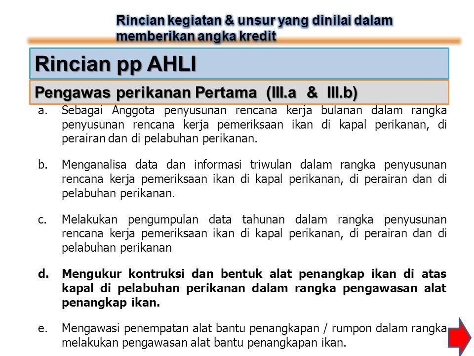 Rincian pp AHLI Pengawas perikanan Pertama (III.a & III.b)
