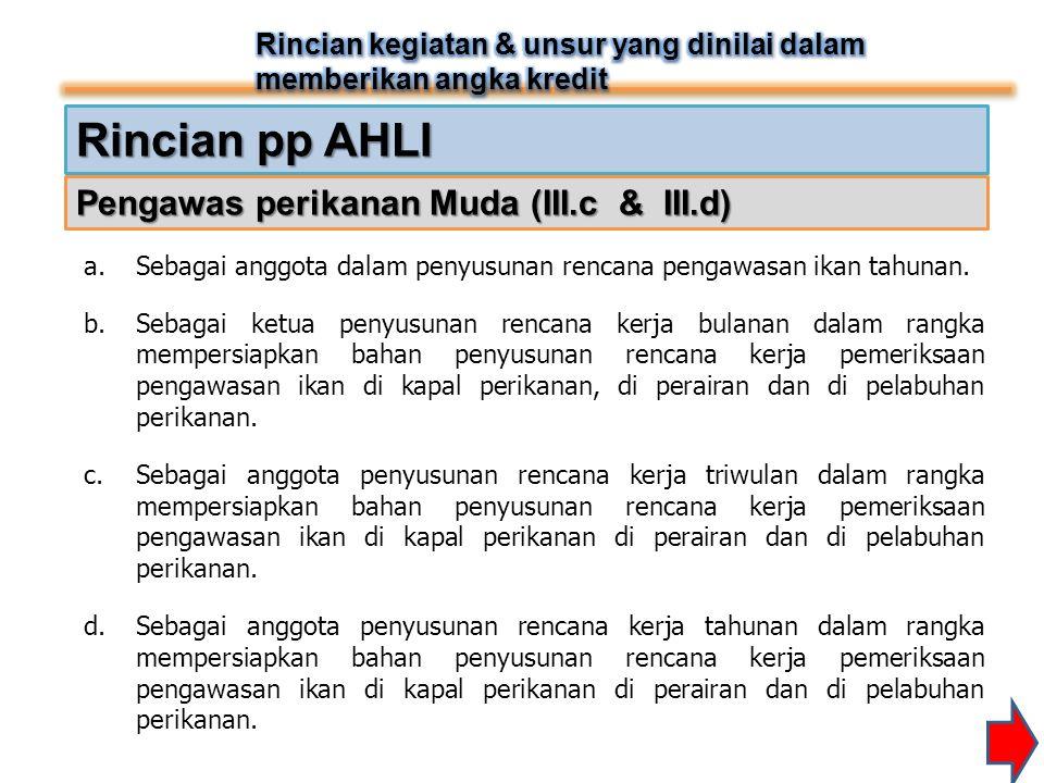 Rincian pp AHLI Pengawas perikanan Muda (III.c & III.d)