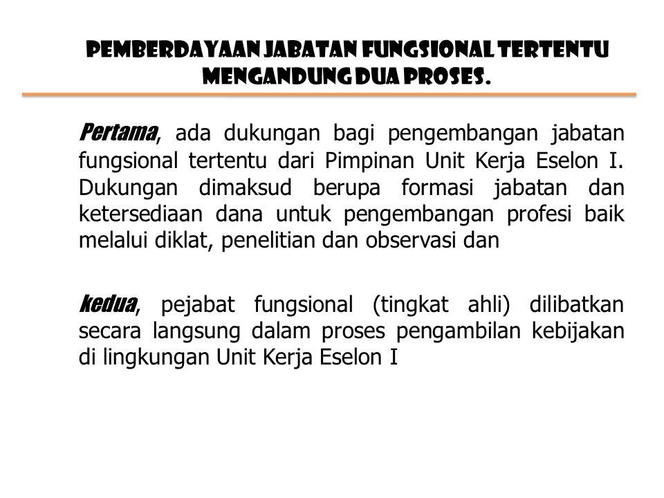 Pemberdayaan jabatan fungsional tertentu mengandung dua proses.