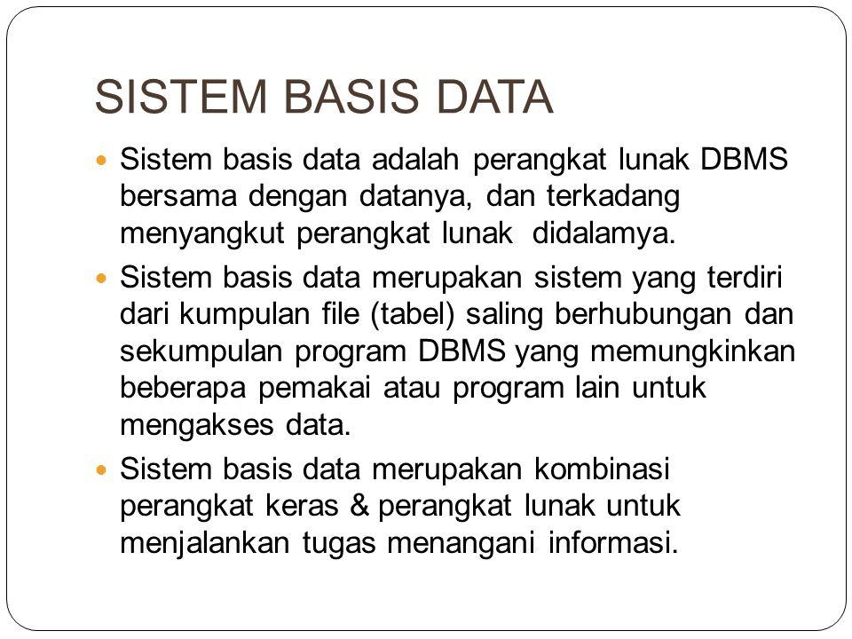 SISTEM BASIS DATA Sistem basis data adalah perangkat lunak DBMS bersama dengan datanya, dan terkadang menyangkut perangkat lunak didalamya.