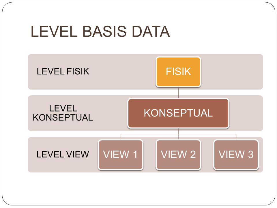 LEVEL BASIS DATA FISIK KONSEPTUAL VIEW 1 VIEW 2 VIEW 3 LEVEL FISIK