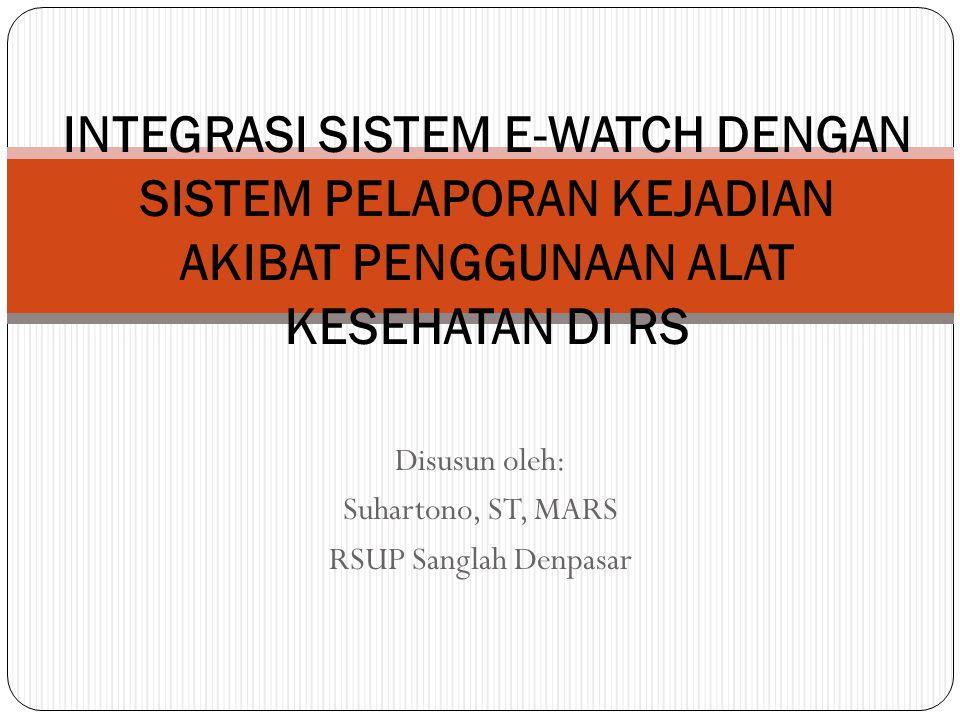 Disusun oleh: Suhartono, ST, MARS RSUP Sanglah Denpasar