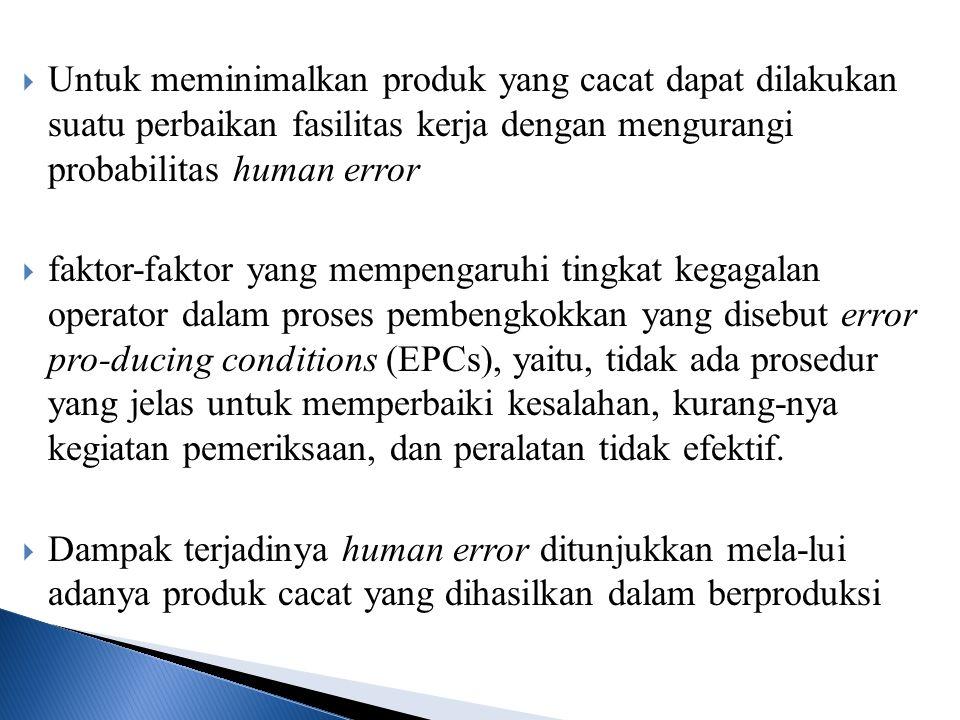 Untuk meminimalkan produk yang cacat dapat dilakukan suatu perbaikan fasilitas kerja dengan mengurangi probabilitas human error